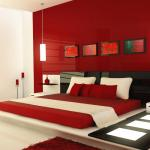 Decor bedroom with red color and set a romantic mood