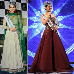 Designer outfits worn by Manushi Chhillar, from ethnic to western