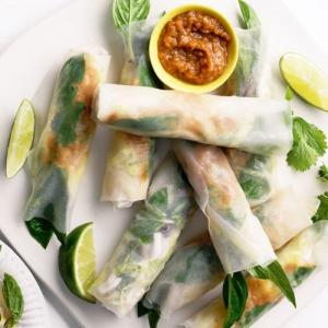 Recipe: Rice Rolls with Peanut Dipping Sauce