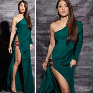 Nushrat Bharucha soaring temperature in thigh-high slit dress, see in 5 pics