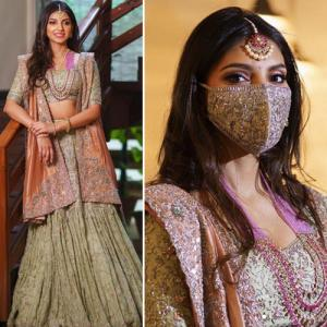 Miheeka Bajaj dons embroidered mask at pre-wedding celebrations, see in 5 pics