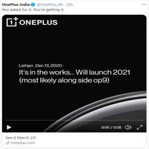 New OnePlus Watch is going to be Launch on March 23