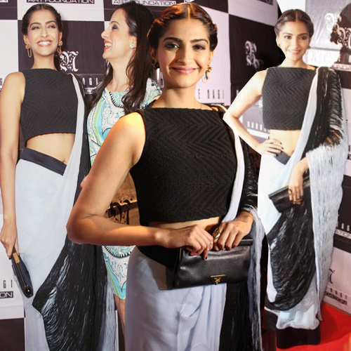 Sonam rocks Rouble Nagi Art Foundation! , fashionista sonam kapoor,  actress sonam kapoor,  sonam's style statement,  sonam kapoor draping a saree in unique way,  sonam kapoor sari drapping style,  fashion,  fashion statement,  sari draping way,  fashion trends 2014,   sonam kapoor has lent her support to a foundation for underprivileged kids,  sonam for social cause