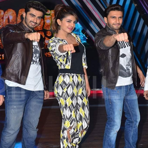 The'Gunday' team of 'Priyanka' promoting the film , priyanka chopra,  ranveer singh,  arjun kapoor,  release,  ali abbas zafar,  boogie woogie,  dance india dance,  comedy nights with kapil,  fairer
