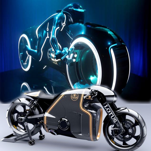 TRON'S bike is a reality NOW.., tron,  film,  sci-fi films,  british car firm lotus,  lotus,  lotus has unveiled its first ever motorcycle,  tron motorbike,   famous light cycle ,  light automobile,  automobile launch,  launch,  new launch,   famous light cycle from the film tron,  motorbike