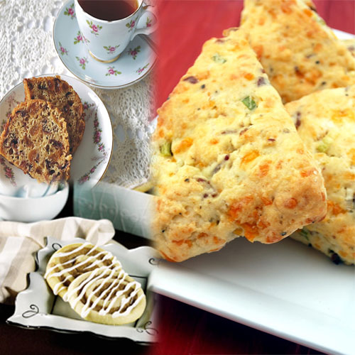 Try Delicacies at TEA TIME!!, afternoon tea recipes,  recipes,  tea time recipes,  love these tea time snacks,  afternoon tea,  try delicacies at tea time,  tea time,  delicacies,  fruity teacake,   cheddar scones,  cinnamon swirls